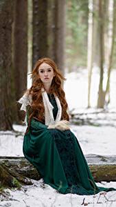 Bilder Wald Schnee Bäume Sitzt Kleid Rotschopf Starren Anna Zhu, Kirill Sokolov Mädchens