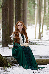Bilder Wald Schnee Bäume Sitzt Kleid Rotschopf Starren Anna Zhu, Kirill Sokolov Natur Mädchens