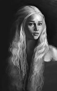 Fotos Game of Thrones Daenerys Targaryen Emilia Clarke Schwarz weiß Haar Blondine Film Mädchens Prominente