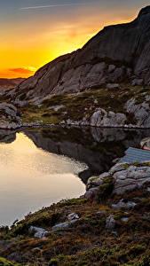 Bilder Norwegen Morgendämmerung und Sonnenuntergang Abend See Steine Felsen Bjerkreim Rogaland Natur