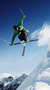 Fotos Skisport Mann Sprung Schnee Sport