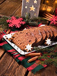 Fotos Neujahr Backware Keks Bretter Ast Schneeflocken Lebensmittel