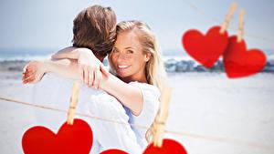 Papéis de parede Dia dos Namorados Homem Amor Dois Cabelo loiro Meninas Coração Sorrir Abraçando Meninas