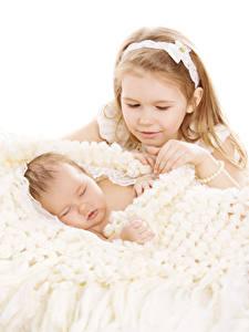 Pictures White background Little girls 2 Baby Sleeping Children