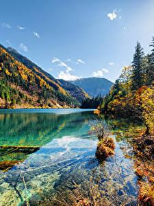 Sfondi desktop Valle del Jiuzhaigou Cina Parco Lago Montagna Autunno Paesaggio Natura