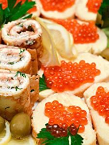 Fotos Butterbrot Meeresfrüchte Kaviar