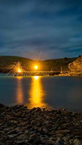 Fotos Australien Schiffsanleger Stein Straßenlaterne Nacht Kleine Bucht Second Valley Natur
