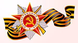Fotos Tag des Sieges 9 Mai Feiertage Vektorgrafik Orden Medaille Russische Weißer hintergrund