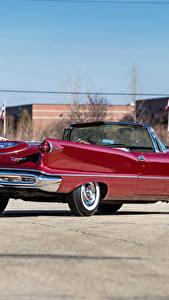 Hintergrundbilder Retro Rot Metallisch Cabriolet Hinten 1958 Imperial Crown Convertible (LY1-M) Autos