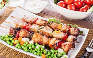 Fotos Fleischwaren Schaschlik Grüne Erbsen
