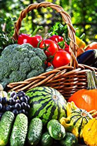 Bilder Gemüse Gurke Tomate Weintraube Wassermelonen Kürbisse