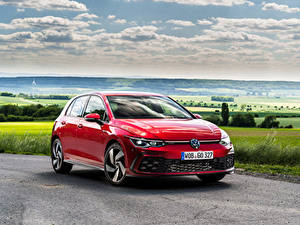 Papel de Parede Desktop Volkswagen Vermelho Metálico Golf GTI, 2020