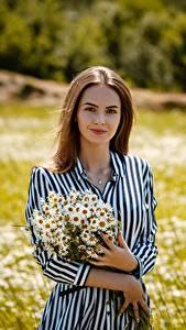 Bilder Kamillen Blumensträuße Braune Haare Kleid Hand Alexey Gilev junge frau