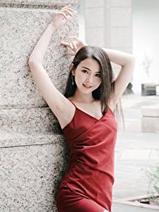 Fotos Asiaten Brünette Blick Kleid Hand Pose