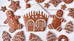 Bilder Neujahr Kekse Haus Bretter Design Kleine Sterne das Essen