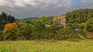 デスクトップの壁紙、、ドイツ、城、廃墟、森林、草、Burg Balduinstein、自然