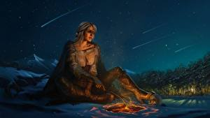 Images The Witcher 3: Wild Hunt Sky Fanart Fan ART Night time Night Ciri or the Lion Cub of Cintra, Cirilla Fiona Elen Riannon young woman Girls