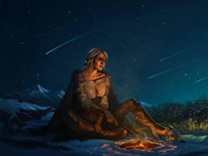 Hintergrundbilder The Witcher 3: Wild Hunt Himmel Fanart Funkenfeuer Nacht Ciri or the Lion Cub of Cintra, Cirilla Fiona Elen Riannon Mädchens