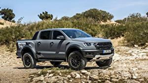 Hintergrundbilder Ford Steine Graues Pick-up Ranger Raptor Autos