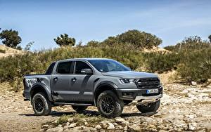 Desktop hintergrundbilder Ford Steine Graues Pick-up Ranger Raptor Autos