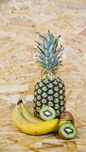 Hintergrundbilder Obst Ananas Bananen Chinesische Stachelbeere