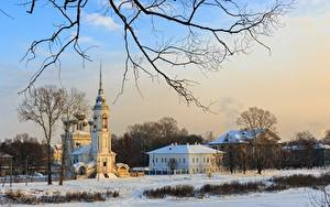 Hintergrundbilder Russland Winter Kirchengebäude Tempel Ast Schnee Vologda, Church Of The Presentation Of The Lord Städte