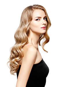 Fotos Weißer hintergrund Blond Mädchen Haar Starren Mädchens