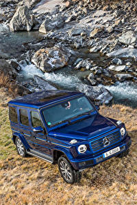 Bilder Mercedes-Benz Blau Sport Utility Vehicle Metallisch 2019 G 350 d Worldwide Autos