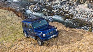 Bilder Mercedes-Benz Blau Sport Utility Vehicle Metallisch 2019 G 350 d Worldwide Autos