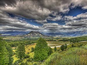 Bilder Chile Landschaftsfotografie Gebirge Wald Grünland Himmel Wolke Gras HDRI Patagonia