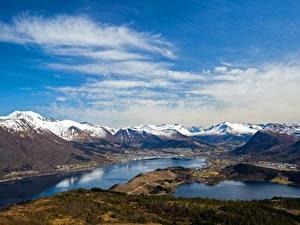 Fotos Gebirge Himmel Norwegen Wolke Helgehornet, fjords Natur