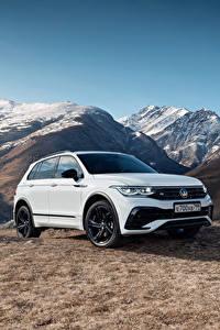 Bilder Volkswagen Gebirge Crossover Weiß Metallisch Tiguan 4MOTION R-Line, CIS-spec, 2021 automobil