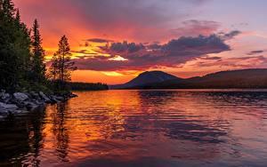 Fotos Sonnenaufgänge und Sonnenuntergänge Gebirge See Landschaftsfotografie Tiere