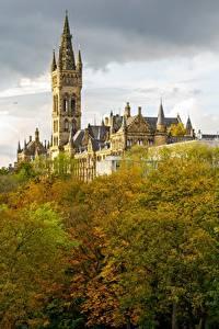 Bilder Herbst Schottland Türme Bäume University Glasgow Städte