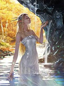 Fotos Elfen Wasser Legend of the Cryptids Kleid Nass Spiele Mädchens Fantasy