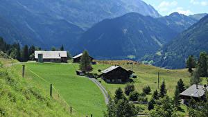 Hintergrundbilder Schweiz Gebirge Haus Grünland Alpen  Natur