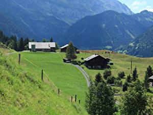 Hintergrundbilder Schweiz Gebirge Haus Grünland Alpen