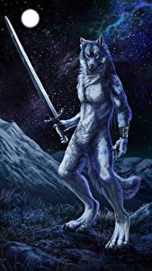 Hintergrundbilder Magische Tiere Wolf Krieger Schwert Nacht Fantasy