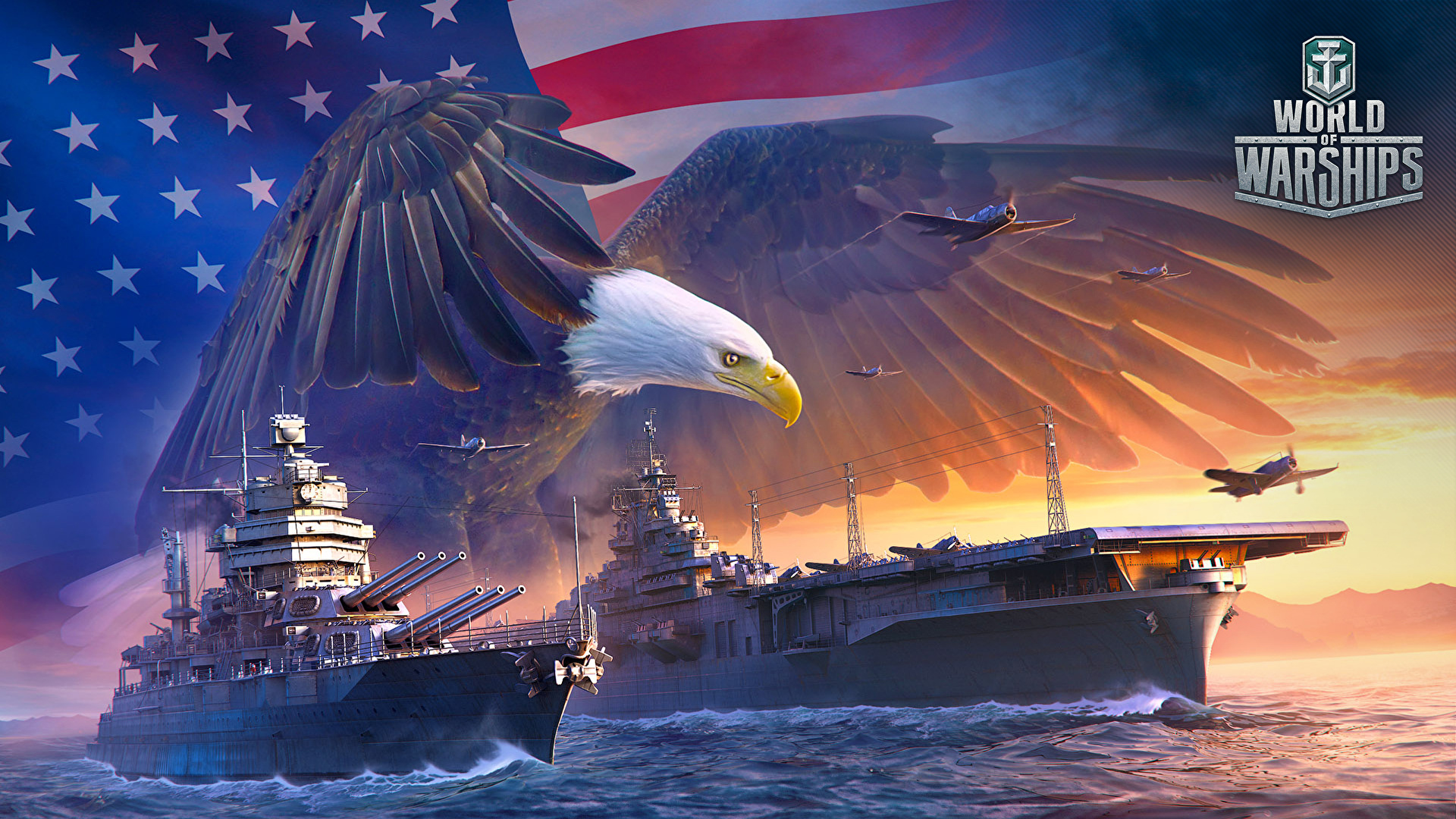 Wallpaper World Of Warship Eagle Us Games Ships Army 1920x1080