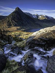 Fotos Vereinigtes Königreich Gebirge Wasserfall Steine Landschaftsfotografie Felsen Capel Curig Wales Natur