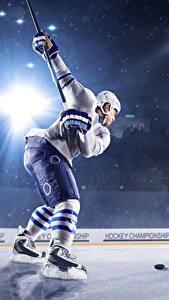 Bilder Hockey Mann Uniform Helm Lichtstrahl Eisbahn Sport
