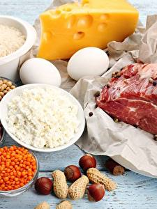 Photo Meat products Cheese Nuts Quark curd cottage farmer cheese Eggs