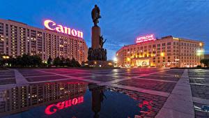 Hintergrundbilder Russland Moskau Abend Denkmal Platz Pfütze Kaluzhskaya Square