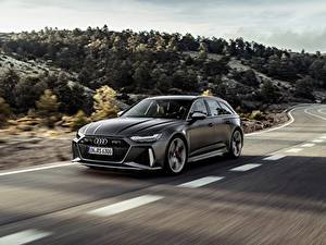 Bilder Audi Straße Bewegung Kombi Grau RS 6 2020 2019 V8 Twin-Turbo Avant auto