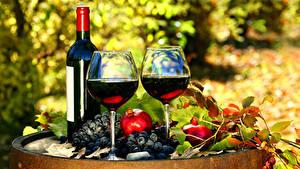 Fotos Wein Weintraube Granatapfel Flaschen Weinglas 2 Lebensmittel