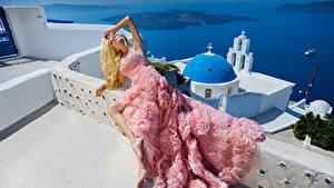 Hintergrundbilder Blondine Kleid Model