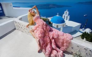 Hintergrundbilder Blondine Kleid Model Mädchens