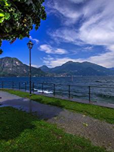 Hintergrundbilder Italien See Himmel Landschaftsfotografie Bank (Möbel) Straßenlaterne Zaun Bellagio Natur