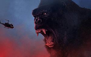 Hintergrundbilder Kong: Skull Island Hubschrauber Eckzahn Affe Grinsen Schreien Film