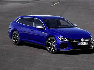 Hintergrundbilder Volkswagen Blau Metallisch Kombi Arteon, R-Line, Shooting Brake Autos
